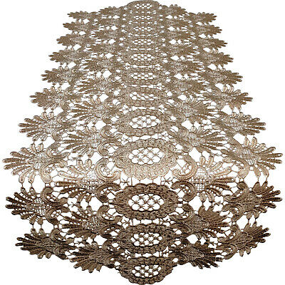 Doily Boutique Table Runner or Doily with Gold Victorian Lace Handmade