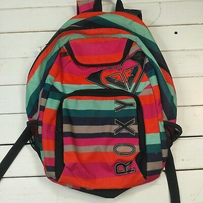 ROXY Backpack School Gym Bag Medium Size Striped Surfer Skateboard