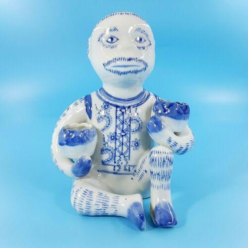 Blue & White Hand Painted Porcelain Monkey Figurine Holding Lotus Bowles