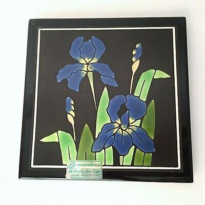 Hand Painted Besheer Art Tile Blue Iris on Black Ground Made in Bedford N.H. USA