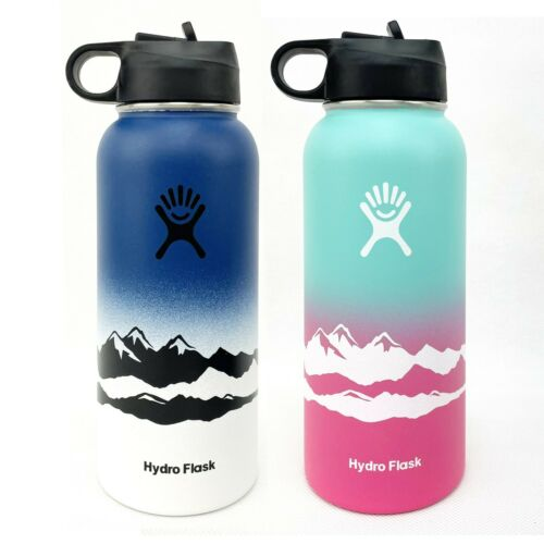 Hydro Flask 32oz Water Bottle Straw Lid Stainless Steel&Vacuum Mountain Design