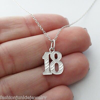 18 Eighteen Charm Necklace - 925 Sterling Silver - Birthday Anniversary Number