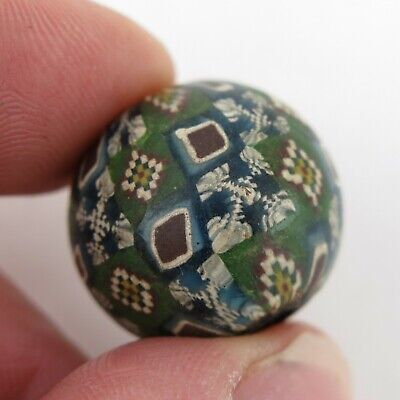 Ethnographic North Indian Green mosaic glass trade bead