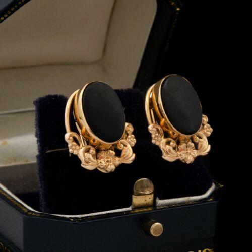 Antique Vintage Art Deco 12k Gold Filled GF VAN DELL Onyx Repousse Earrings 4.9g