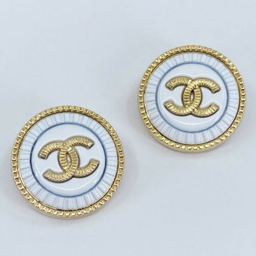 One Pair Authentic CHANEL Buttons, Stamped Gold Metal 23mm Designer Art Buttons