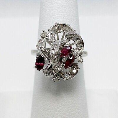 Vintage Natural Ruby Diamond Palldium Silver Ring (5500)