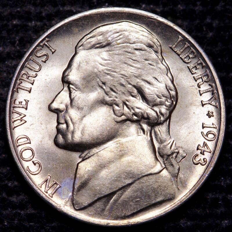 1943 D Jefferson 35/% Silver War Nickel Choice BU US Coin