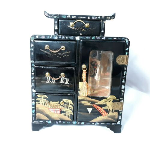 GNCO Japan Jewelry Box Music Box Vintage Hand Painted With Lady