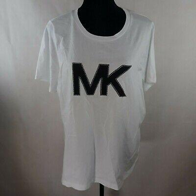 MICHAEL Michael Kors Womens White Cotton Embellished T-Shirt Top 0X WS-032