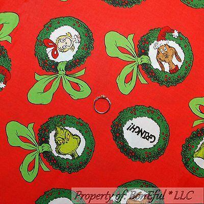 Grinch Dog Costume (BonEful Fabric FQ Cotton Quilt VTG Red Dr Seuss Grinch Xmas Wreath Cindy Max)