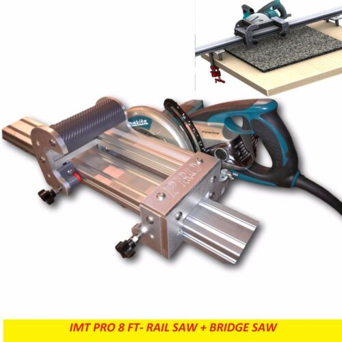 IMT PRO Wet Cutting Makita Motor Rail + Bridge Saw Combo for Granite - 8 Ft Rail
