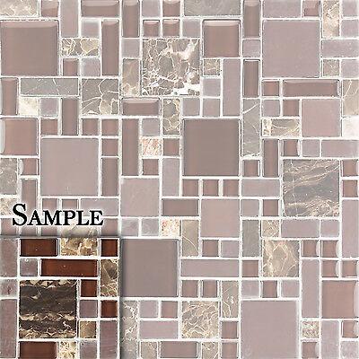 SAMPLE Polished Dark Emperador, Polished & Frosted Glass Mosaic Backsplash