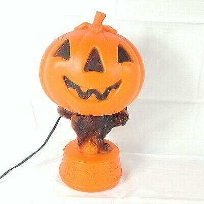 Halloween Blow Mold Bayshore Jack O Lantern Black Cat Skeletons Pumpkin Vintage
