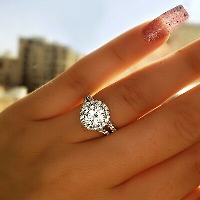 2.60 Ct Round Brilliant Cut Diamond Engagement Ring Halo G, SI1 GIA Natural 14k