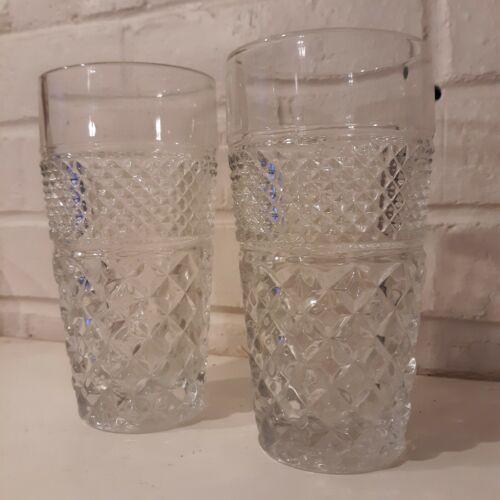 "4 Vintage Anchor Hocking Wexford 6.25"" Glass Tumblers 15 oz Diamond Pattern"