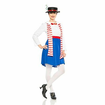 Women's English Nanny Mary Poppins Hat Scarf Dress Halloween Costume XS- - Mary Poppins Halloween Costume Hat