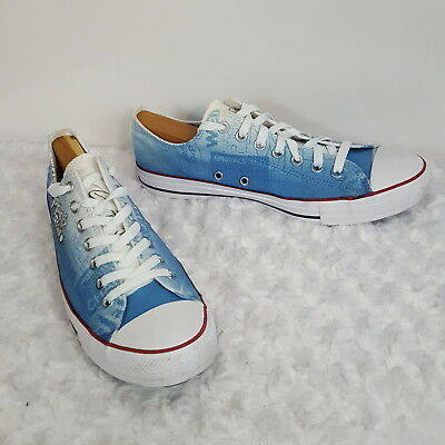Converse Low Sneakers Blue White Zappos Logo Custom Shoes Mens 9.5 Womens 11.5