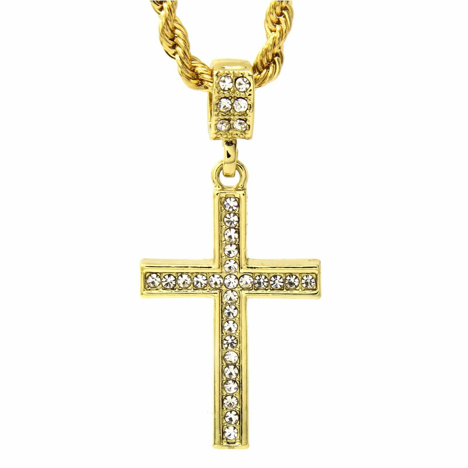 """Jewellery - Men's 14k Gold Plated Cz Lined Cross Pendant With 24"""" inches Rope Necklace Chain"""