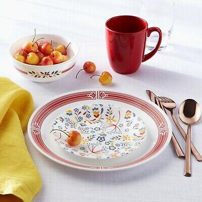 Corelle Signature Prairie Garden Red 16-Piece Dinnerware Set, Dinning Kitchen