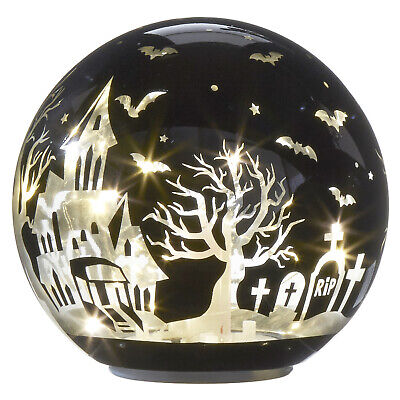 Haunted Cemetery Halloween (RAZ Imports Halloween Lighted Globe with Haunted House Graveyard and Bats 6)