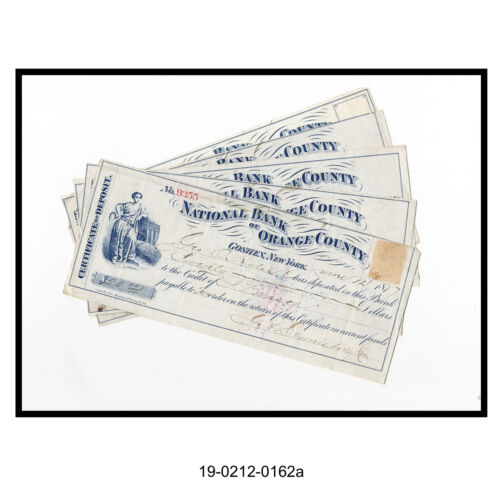 Lot of Five National Bank of Orange County Checks (New York)