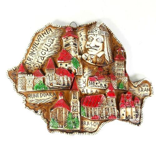 Transylvania Dracula 3D Vlad Romania Map Wall Plaque Ceramic Art Decor