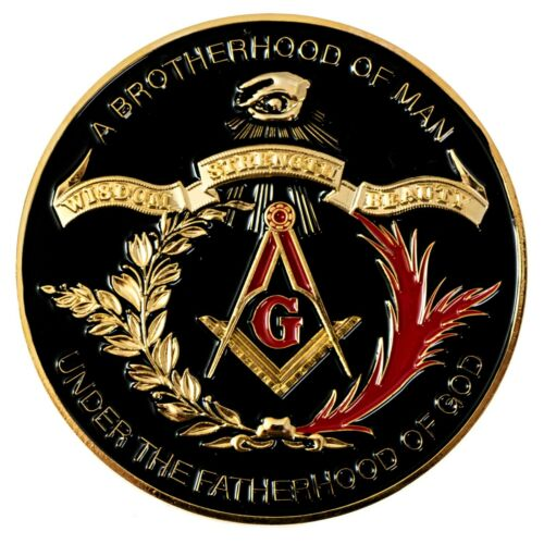 Brotherhood of Man Round Masonic Auto Emblem - [Black & Gold][3