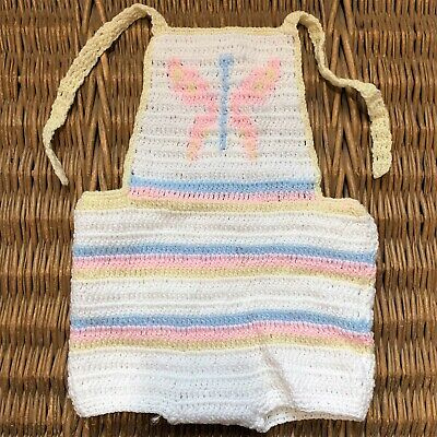 HANDMADE Crochet Knit Knitted TODDLER One Piece Bib Top Overall Shorts BUTTERFLY