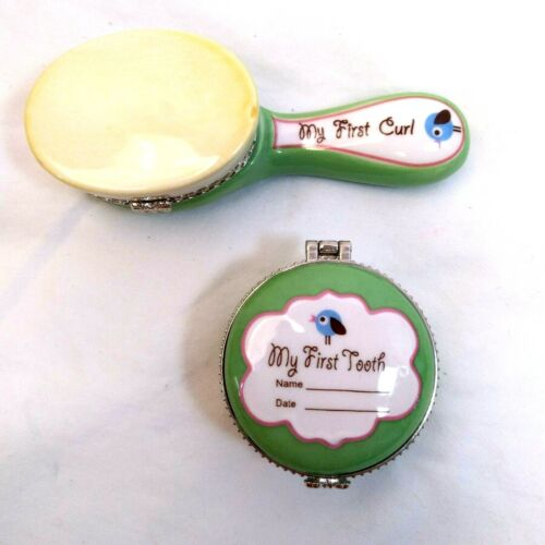 """Trinket Porcelain Box Keepsakes for Baby  """"My First Tooth"""" and """"My First Curl"""""""