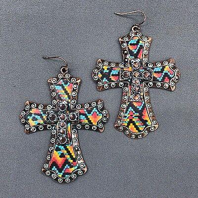 Flamboyant Patina Finish Multi Color Design Cross Shape Drop Dangle Earrings  Multi Cross Dangle