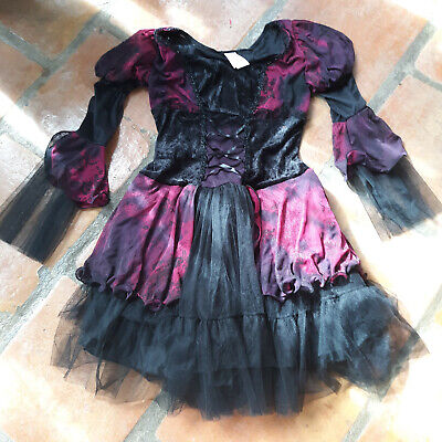 Black Pirate Corset Costume Halloween Dress Gothic Steampunk dance medium 8/10