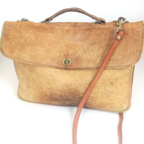 Vintage Coach Unisex Crossbody Messenger Bag Purse Laptop Briefcase Tan Leather