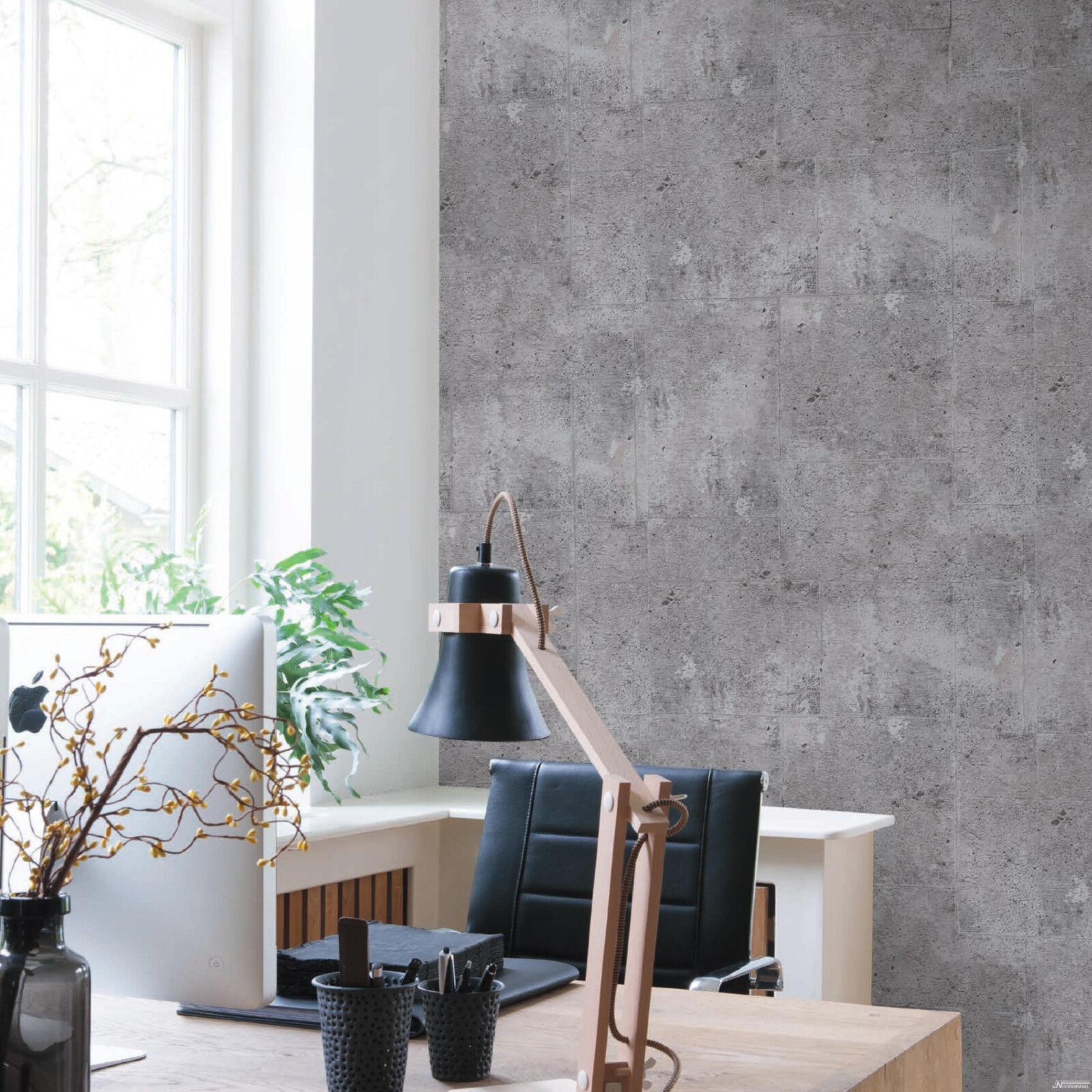 Vliestapete Beton Optik Grau Betontapete Industrial Loft Stein Wand 68653  ...