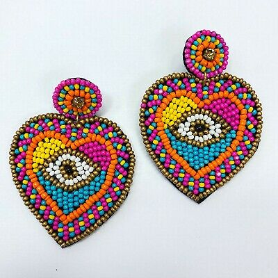 Multi Color Beads Decorated Evil Eye Heart Design Drop Dangle Post Earrings