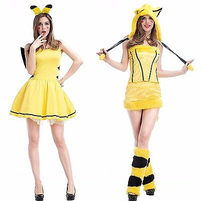 Hot Sexy Yellow Pikachu Halloween Costume Unique Role Play Dress Cute Lingerie