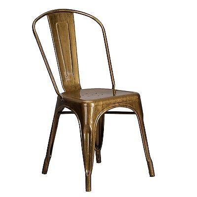 Messing Metall Stuhl (Tolix Inspiriert Metall Esszimmerstuhl Messing Gold Industrielle Cafe Stapelbar)