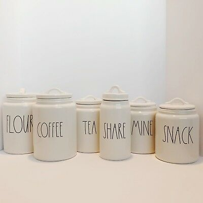 Rae Dunn Canister Flour, Coffee, Tea, Share, Snack, Mine, Hold, Hugs, Store, NEW