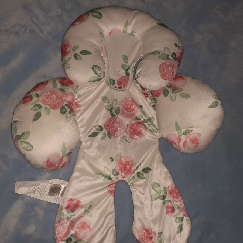 Baby head body support insert infant carseat & stroller, floral white, pink,