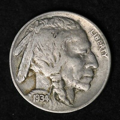 1934 Buffalo Nickel G / VG FREE SHIPPING ()