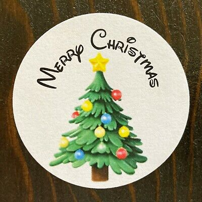 509 Merry Christmas Tree Stickers Holiday Labels Appreciation Party Gift