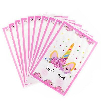 Party Bags For Kids (10 pc Unicorn Happy Birthday Party Flower Favor Goody Loot Bags for)