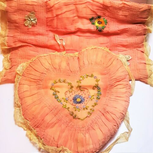 Vintage Antique Boudoir Heart Sham Pillow Cover Ruffles Embroidery Matching Set