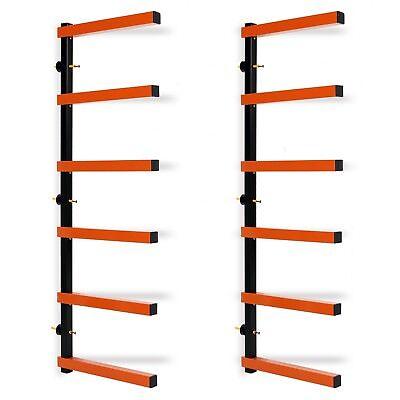 6 Shelf Lumber Storage Rack Wall-Mounted SteelWood Pipes Rack 600LB -