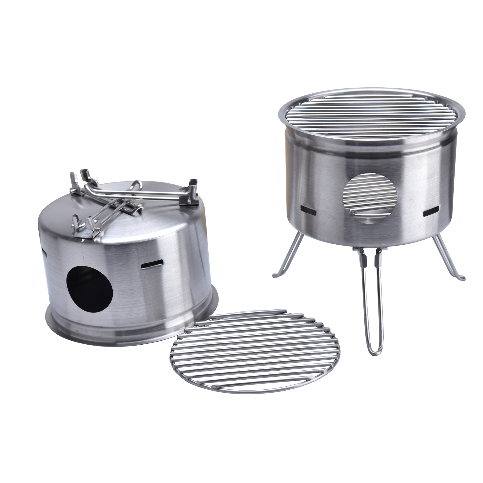 Outdoor Stainless Steel Foldable Camping Wood Stove BBQ Portable Burning Stove