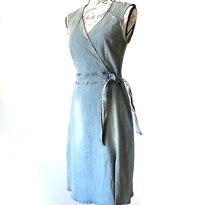 Denim Stretch Jumper (Hot Kiss Denim Sleeveless Surplice VNeck Blue Jean Stretch Jumper Summer Dress M)