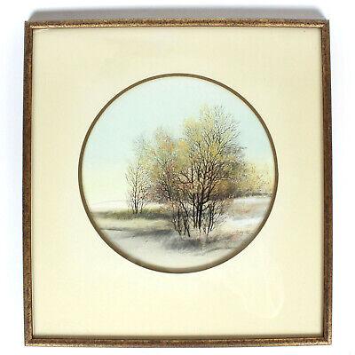 Arnold Alaniz Winter Trees Signed Art Print Lithograph 1973 Framed 16 x 15 w/Mat