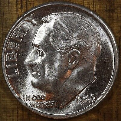 1946 D Roosevelt Dime CH BU LUSTER! 90% Silver US Coin From OBW Rolls