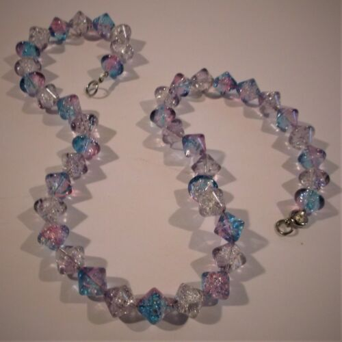 """VTG 18"""" PINK BLUE SILVER BICONE CRACKLE GLASS BEAD NECKLACE ROUND SPRING CLASP"""