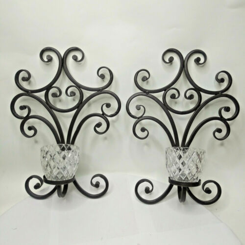 2 Vintage Votive Sconces Dark Brown Metal Swirls Glass Votive Candle Holders