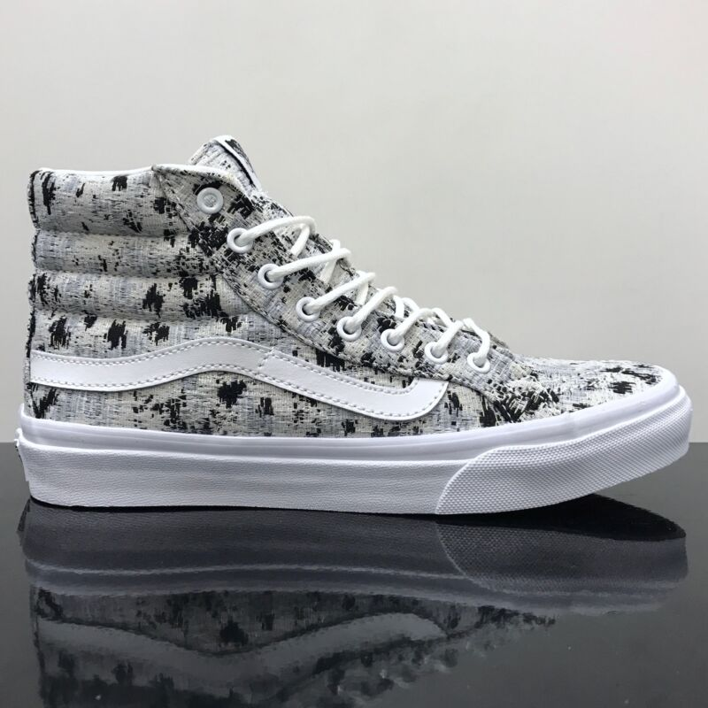 cfadb2d3a1 VANS SK8 HI SLIM ITALIAN WEAVE ABSTRACT TRUE WHITE TRAINERS SHOES